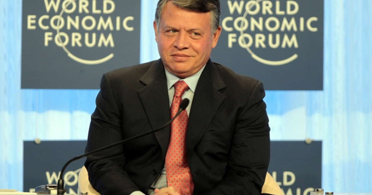 Jordan's King Abdullah inaugurates the World Economic Forum (WEF) annual meeting by the Dead Sea on Oct. 22, 2011.</p>