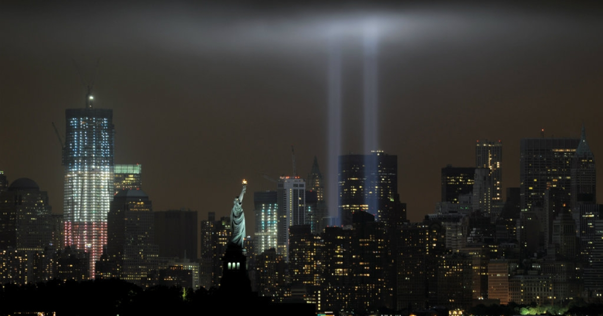 "The annual ""Tribute in Light"" memorial echoing the twin towers of the World Trade Center illuminates the night sky during the 10th Anniversary of the September 11, 2001 attacks.</p>"