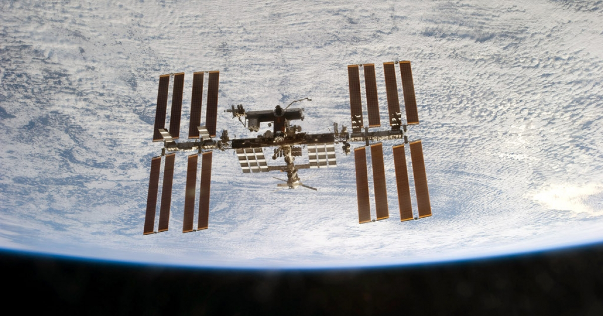 The International Space Station is seen from the space shuttle Discovery as the two orbital spacecraft accomplish their relative separation after an aggregate of 12 astronauts and cosmonauts worked together for over a week during flight day 12 activities March 7, 2011 in Space.</p>