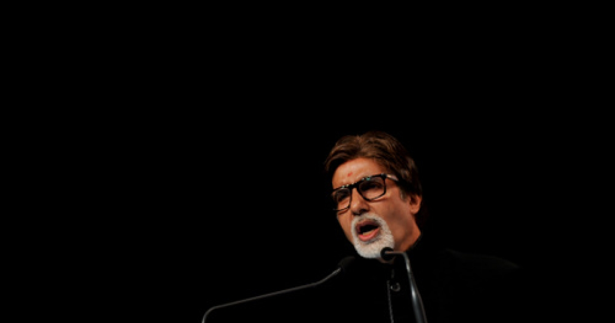 Indian Bollywood actor Amitabh Bachchan delivers a speech at the 44th Bharatiya Jnanpith award function in New Delhi on September 18, 2011.</p>