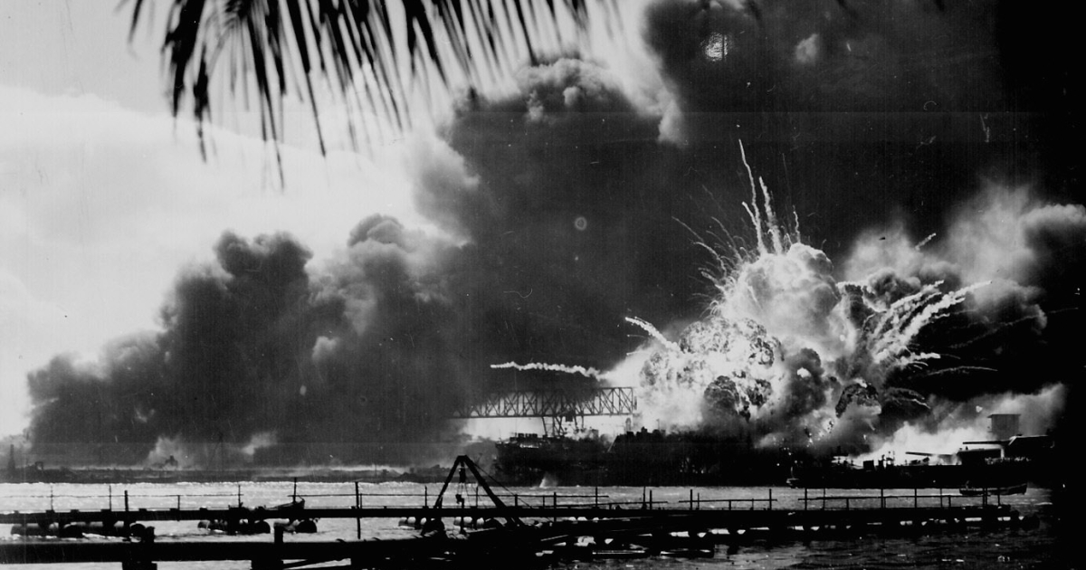 USS SHAW exploding during the Japanese raid on Pearl Harbor.