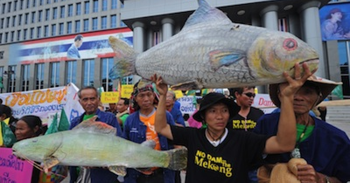 Thai villagers affected by the construction of the Xayaburi dam in Laos hold models of fish in front of the administrative court in Bangkok on August 7, 2012.</p>