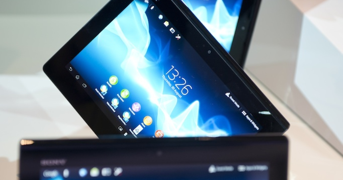 Xperia tablets are seen at the Sony booth during the 52nd edition of the 'IFA' (Internationale Funkausstellung) trade fair in Berlin on Aug. 30, 2012. The company pulled the tablets off the market due to a manufacturing defect.</p>