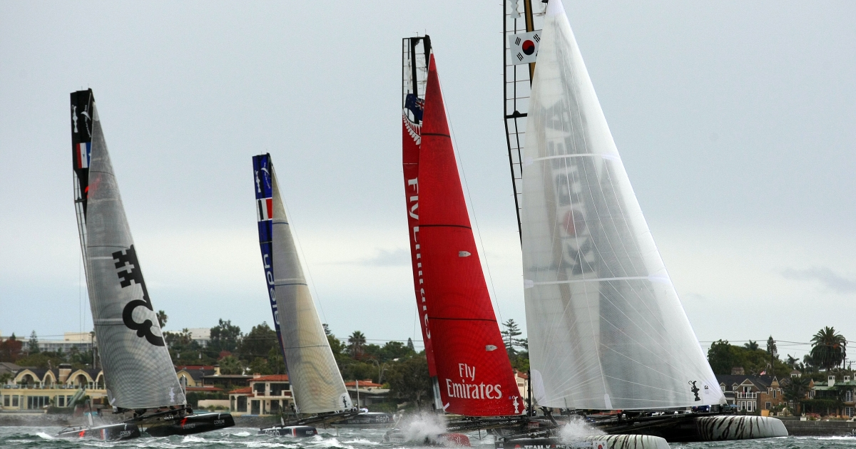 Team Korea leads Emirates Team New Zealand during the America's Cup World Series, San Diego Match Racing Championship Fleet Race, on Nov. 20, 2011 in San Diego Bay in California.</p>