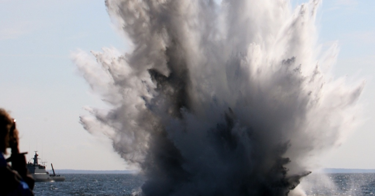 A blast rips below the Baltic Sea during the Operation Open Spirit, a mission to clear the potentially deadly devices from the Baltic.</p>