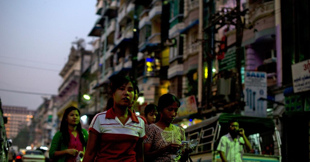 Downtown Yangon.</p>