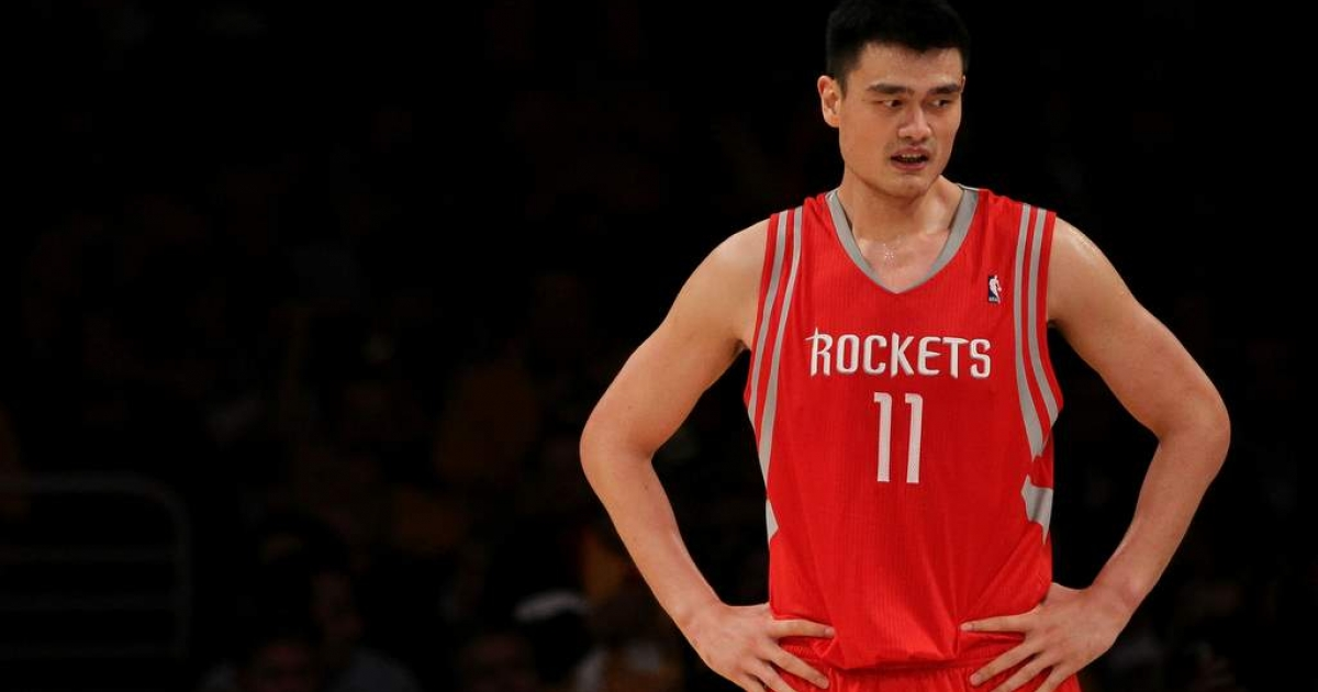 Yao Ming of the Houston Rockets looks on during their opening night game against the Los Angeles Lakers at Staples Center on October 26, 2010 in Los Angeles, California.</p>