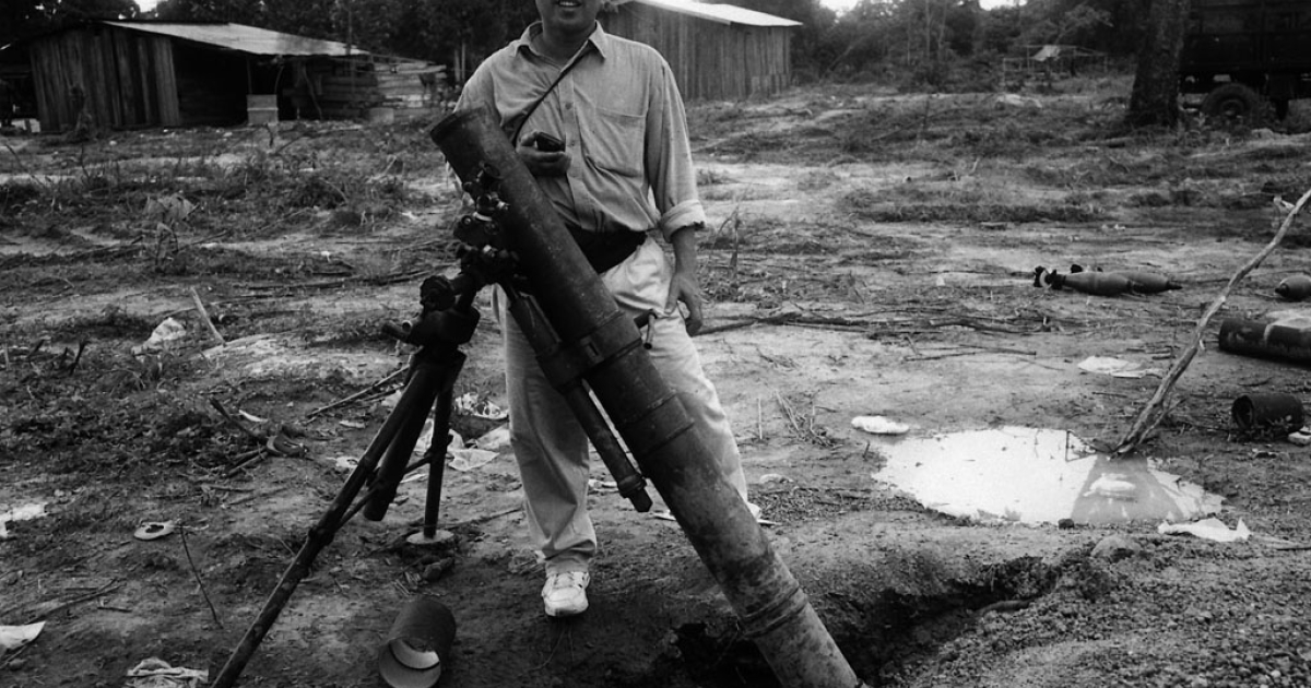 Yasith Chhun, alleged leader of the Cambodia Freedom Fighters, in O'Smach, Cambodia, after the 1997 fighting.</p>