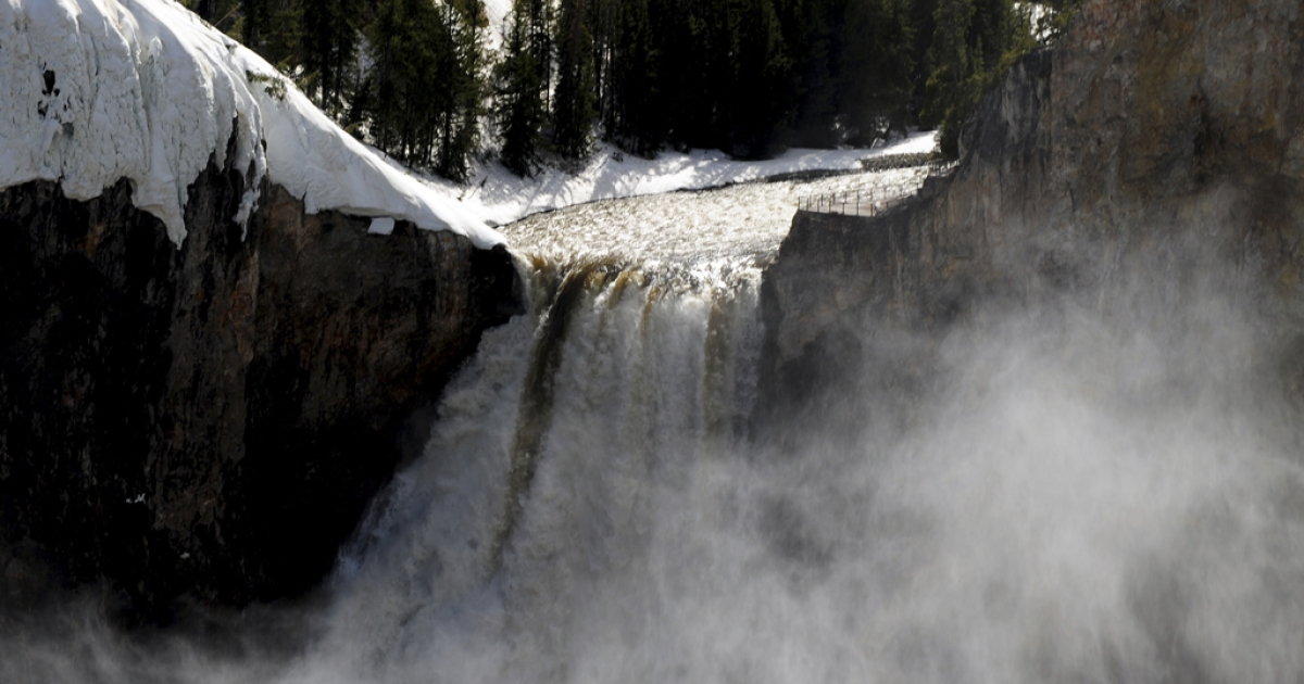 View of the Lower Falls at the Yellowstone Grand Canyon in the Yellowstone National Park, Wyoming, on June 2, 2011.</p>