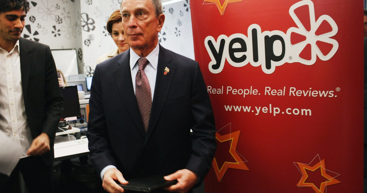 New York Mayor Michael Bloomberg visits the new East Coast headquarters of the online review company Yelp on October 26, 2011 in New York City.</p>