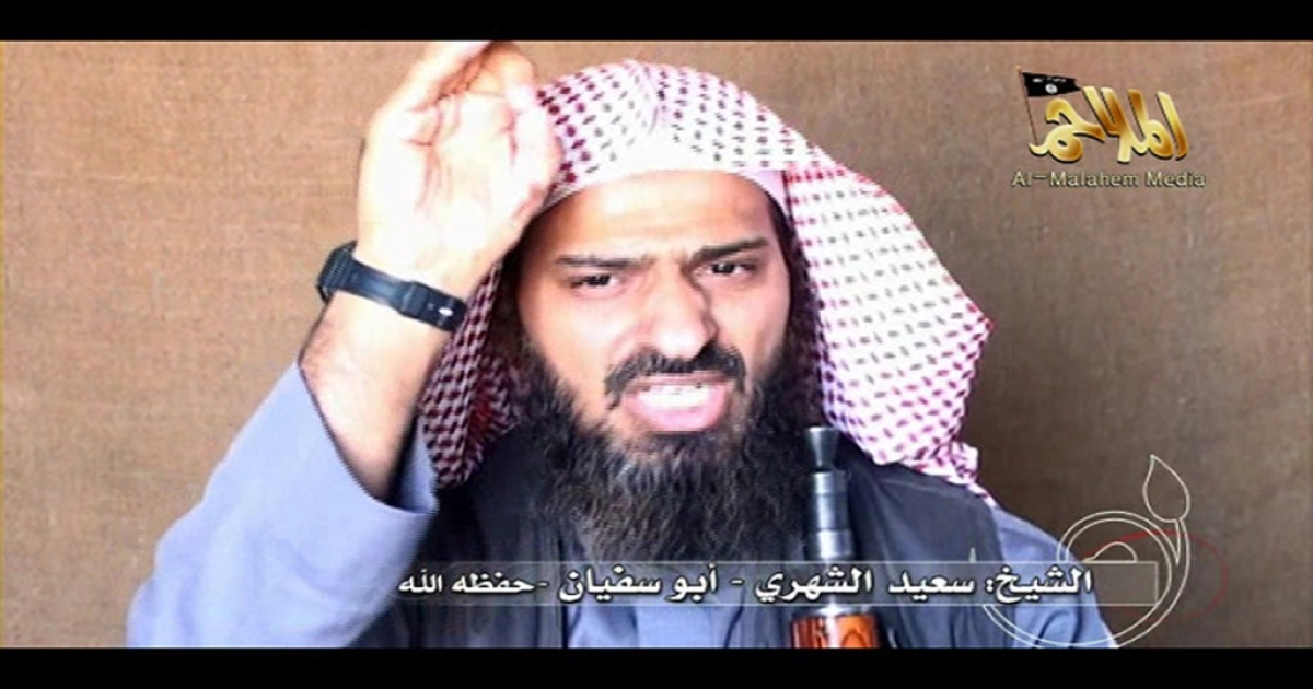 A screen shot of a video posted on the internet in 2010 shows Said al-Shihri, the assistant commander of Al Qaeda in the Arabian Peninsula, which is based in Yemen.</p>