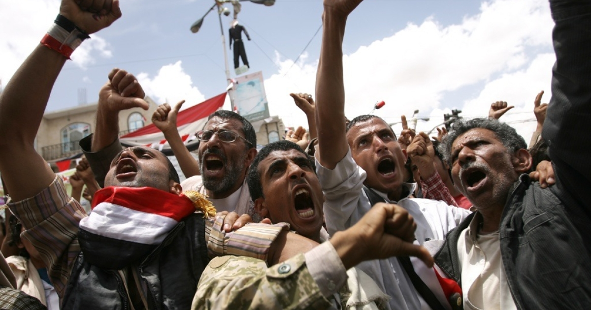 Anti-government protesters demand the resignation of Yemeni President Ali Abdullah Saleh in Sanaa on May 23, 2011.</p>
