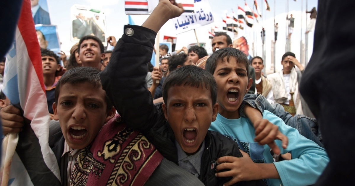Yemeni boys vent their anger at a rally in Sanaa on Sept. 30, 2011.</p>