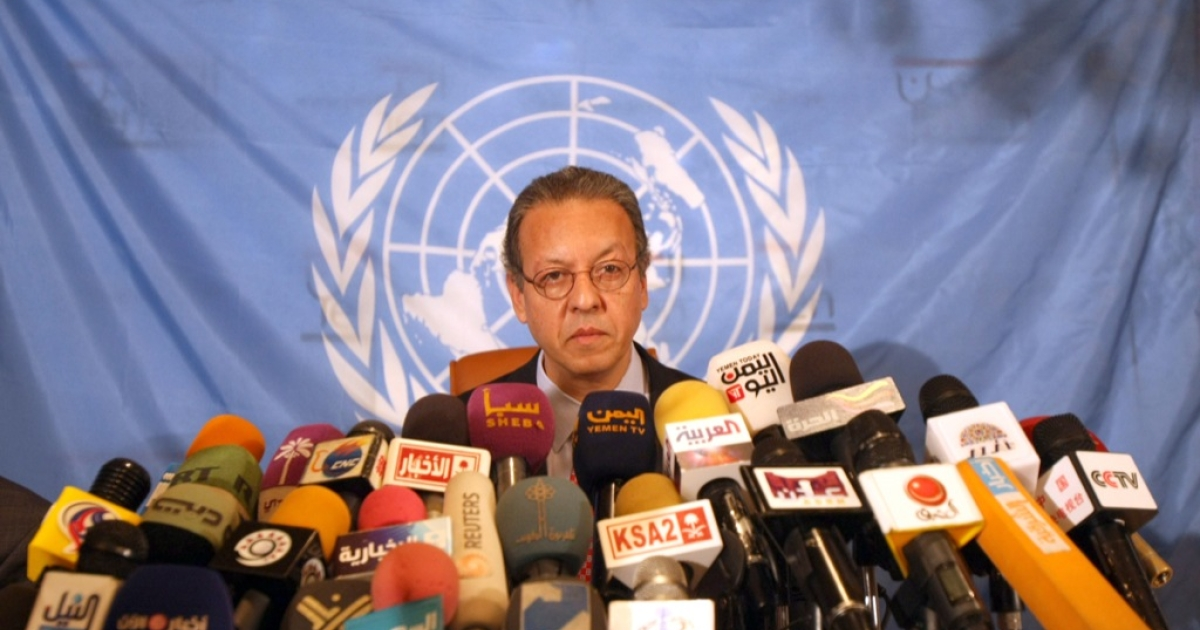 N envoy to Yemen Jamal Benomar gives a press conference in the Yemeni capital Sanaa, on November 23, 2011, prior to departing, as Yemeni President Ali Abdullah Saleh was in the Saudi capital Riyadh to sign a Gulf plan that will finally end his 33-year hardline rule, a UN official said.</p>