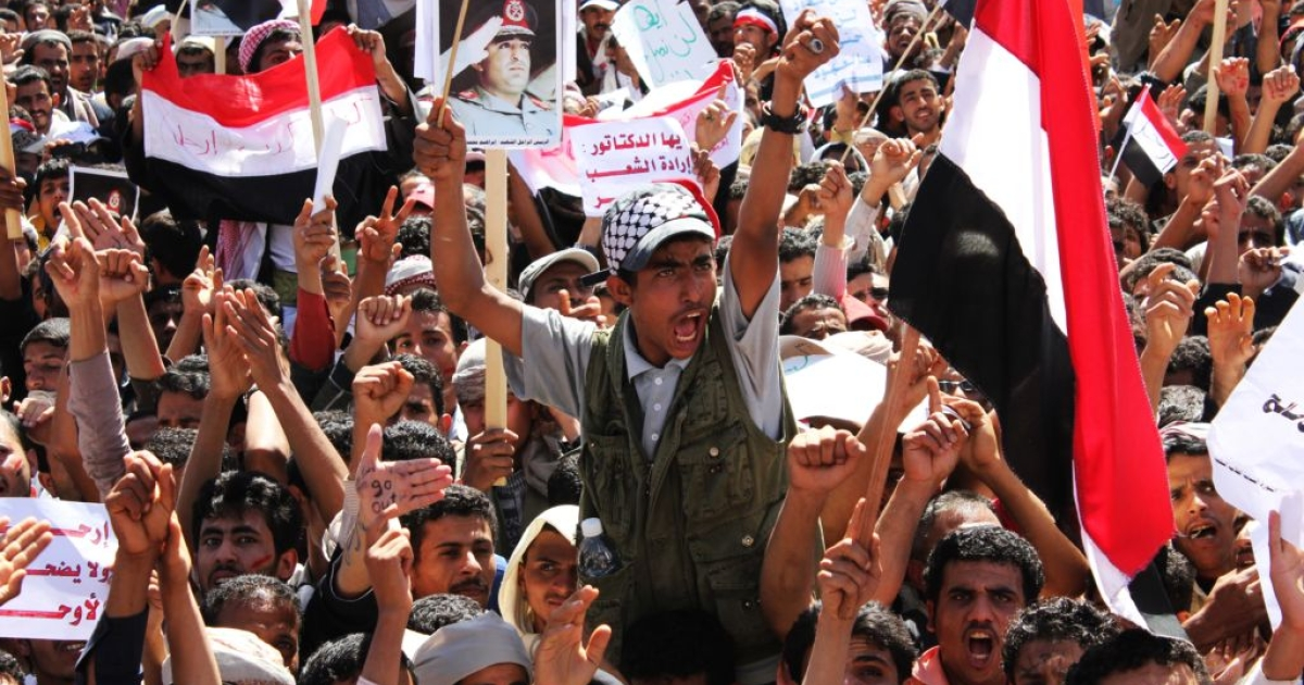 March 1, 2011: Thousands of demonstrators, outside Sana'a university, chant and shout slogans calling for an end to President Ali Abdullah Saleh's 32-year rule. The area outside the capital's main university was re-named 'Change Square' by the protest movement.</p>