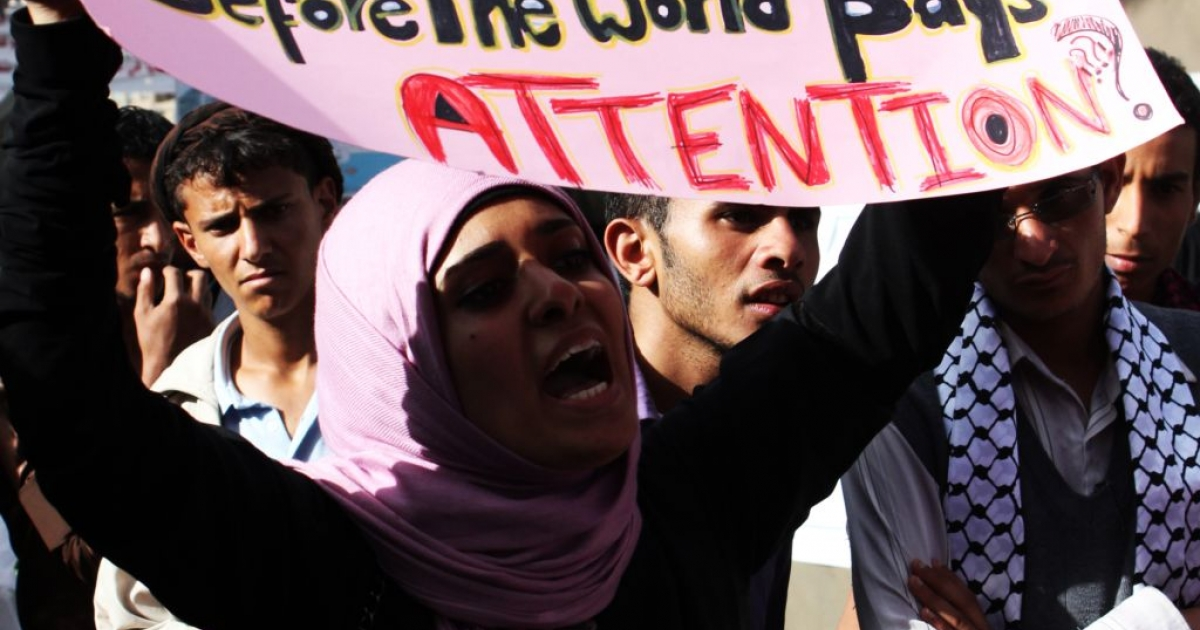 April 16, 2011: Youth activists march, calling on US President Barak Obama to denounce President Ali Abdullah Saleh and support the protest movement.</p>