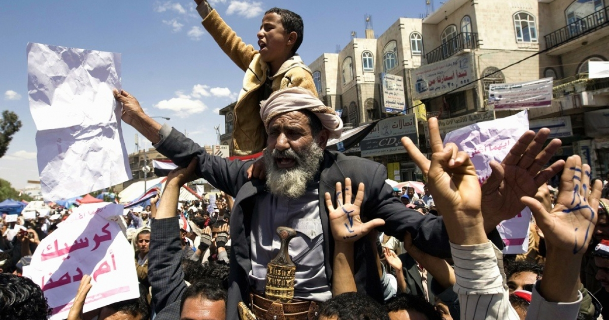 Yemenis protest against the regime of President Ali Abdullah Saleh in Sanaa on March 9, 2011, the morning after a Yemeni protester died of gunshot wounds after being hit when police opened fire overnight on anti-regime demonstrators in Sanaa, a medical official said.</p>
