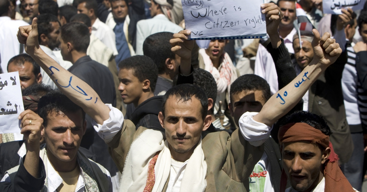 Anti-government protesters gather in the capital Sanaa on Feb. 20, 2011.</p>