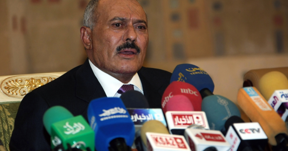 Yemeni President Ali Abdullah Saleh speaks on December 24, 2011, in the capital Sanaa. One of his aides announced today that he would no longer be traveling to the US for medical treatment.</p>