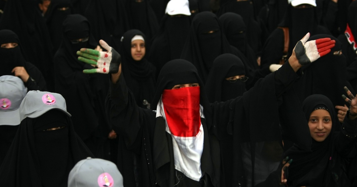 Yemenis protest in Sanaa on Sept. 11, 2012.</p>