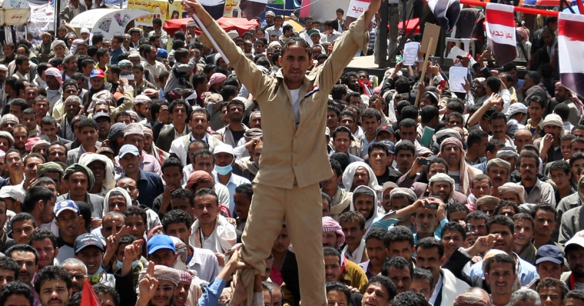 Yemenis protest against the regime of President Ali Abdullah Saleh after 32 years in power, in Sanaa on March 14, 2011.</p>