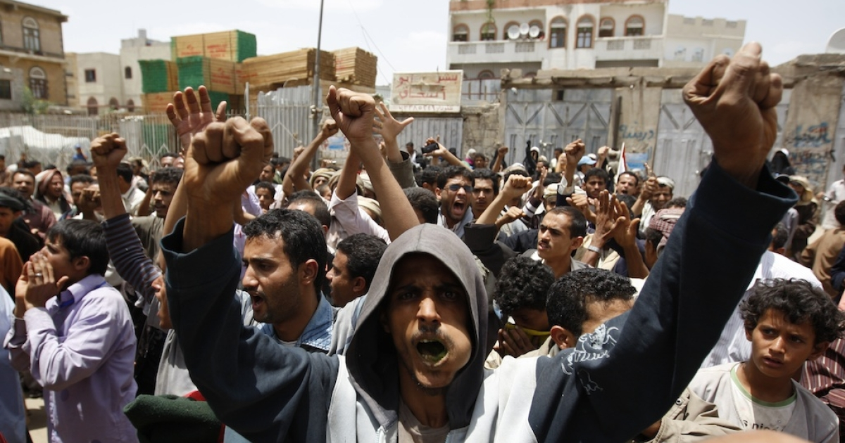 Anti-government protesters demonstrate in Sanaa on June 8, 2011, against the return of embattled president Ali Abdullah Saleh from Saudi Arabia, where he flew to seek medical treatment.</p>