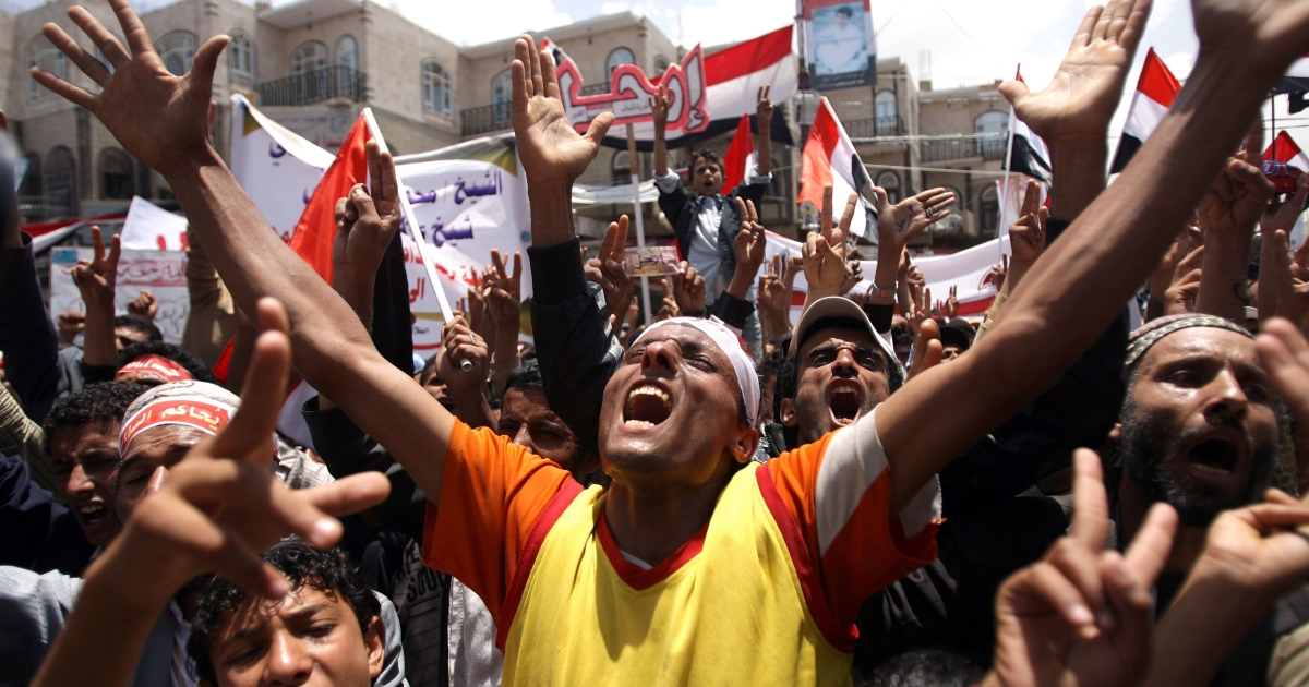 Yemeni anti-regime protesters shout slogans during a demonstration to demand the resignation of Yemeni President Ali Abdullah Saleh, in Sanaa, on April 11, 2011, as the Yemen anti-regime protest movement rejected a proposal from mediating Gulf states that Saleh should pass power to his deputy.</p>