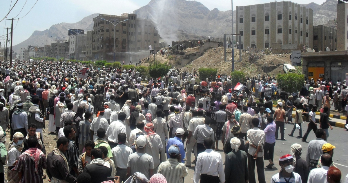 Yemenis protest calling for President Ali Abdullah Saleh to step down immediately in Taiz, the second most-populated city of Yemen, south of Sanaa, on April 25, 2011.</p>