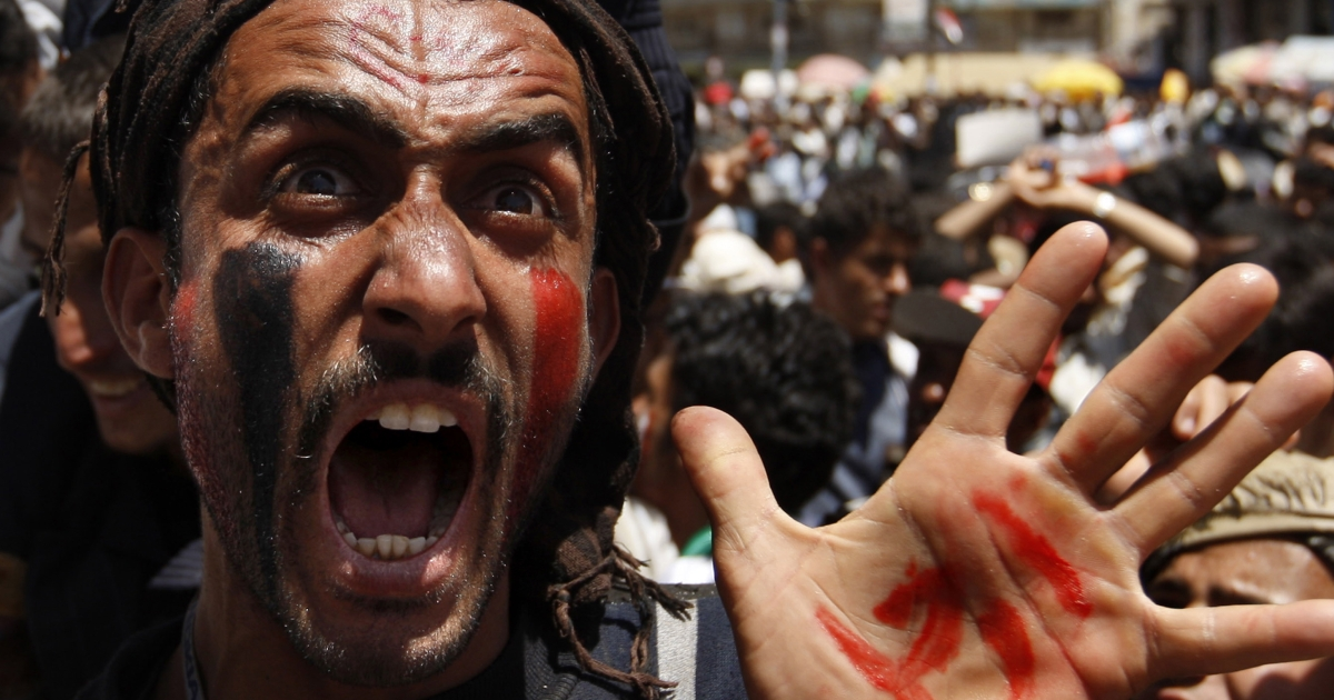 A Yemeni anti-goverment protester chants slogans during a demonstration against President Ali Abdullah Saleh on March 24, 2011 in Sanaa, as Yemen's embattled president, who has ruled the country for the past three decades, warned that a split within the armed forces could lead to civil war.</p>