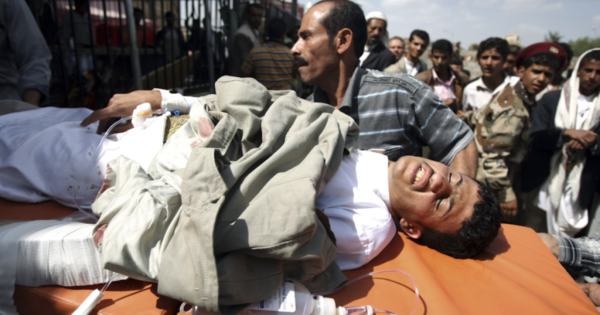 A wounded Yemeni anti-regime protester is rushed to hospital in Sanaa on November 10, 2011, as security forces killed one man and wounded others during protests calling for President Ali Abdullah Saleh's prosecution. UN envoy Jamal Benomar is in Sanaa on a mission to secure the removal of Saleh.</p>