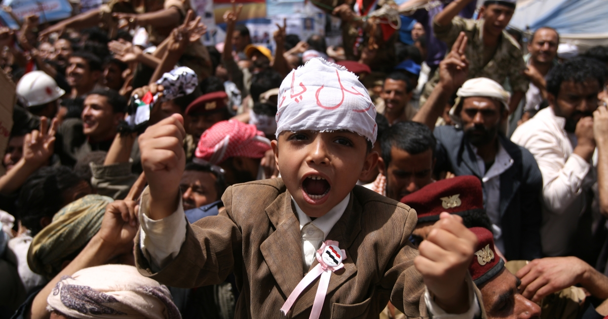 Yemeni anti-government protesters shout slogans during a demonstration demanding the resignation of Yemeni President Ali Abdullah Saleh in Sanaa on March 31, 2011 as Saleh and his opponents prepared for another tense Friday in a two-month-long showdown with calls for rival demonstrations.</p>