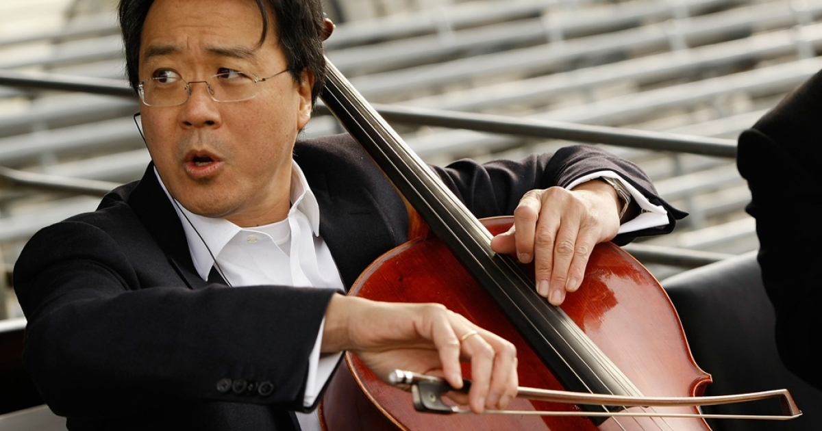 Yo-Yo Ma rehearses for the presidential inauguration on January 19, 2009 in Washington, DC. The French-born, American Chinese cellist has been awarded this year's Polar Music Prize, along with singer-songwriter Paul Simon.</p>