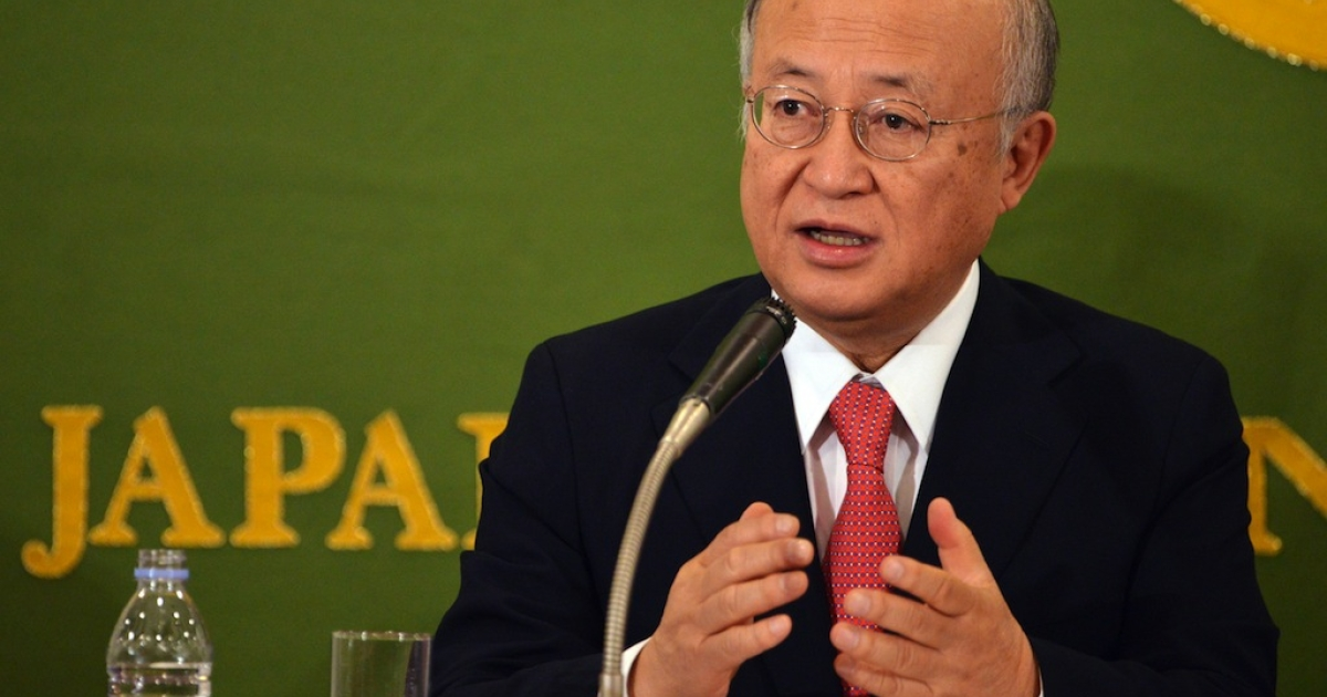 Yukiya Amano, director general of the International Atomic Energy Agency (IAEA) speaks before press in Tokyo on Jan. 11, 2013.</p>