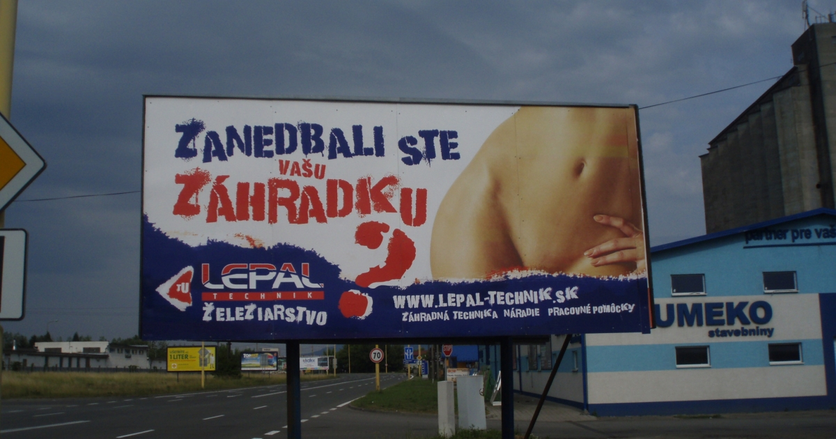 Hardware store billboard in Slovakia urges women not to
