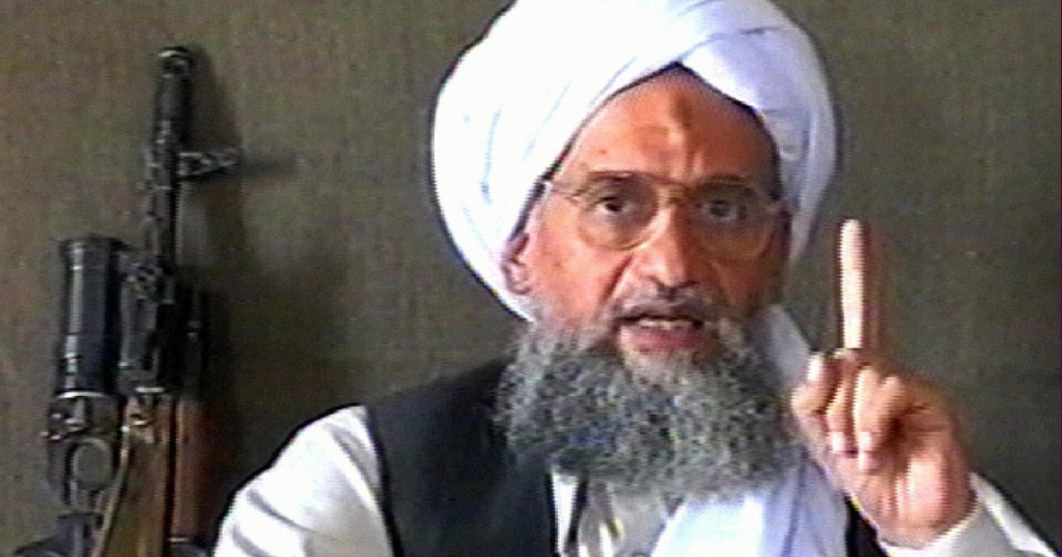 A TV grab from the Qatar-based Al-Jazeera news channel dated June17, 2005, showing Al Qaeda No. 2 Ayman al-Zawahiri delivering a speech at an undisclosed location with a machine gun next to him.</p>