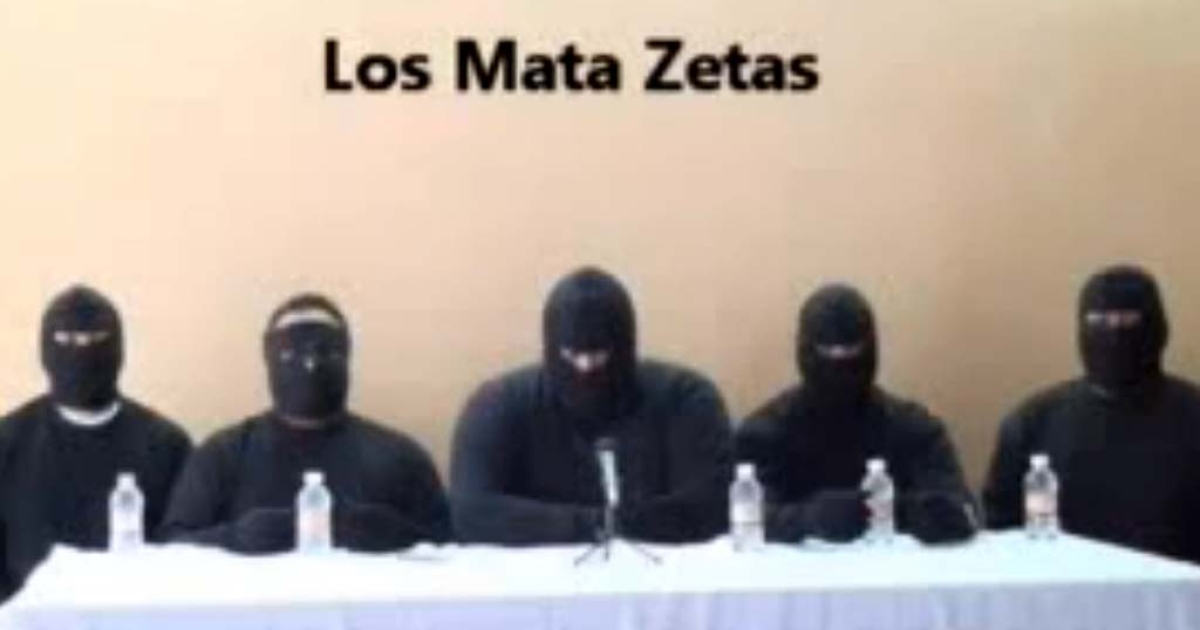 Screen capture of a paramilitary group which vowed to 'eliminate' the Zetas, reputedly Mexico's most violent drug gang, in a video posted on the Internet on September 24, 2011 several days after 49 bodies were found on the streets of Veracruz.</p>