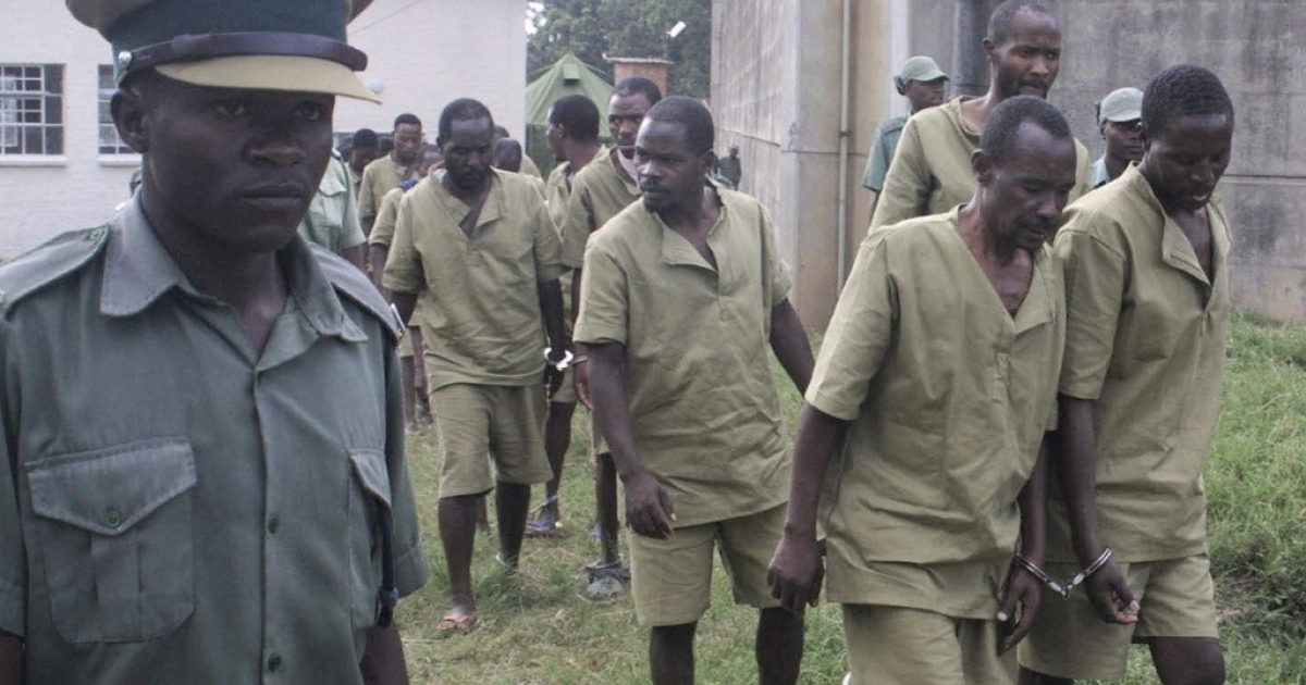 Prisoners incarcerated at Chikurumbi Maximum Security Prison in Harare, Zimbabwe.</p>