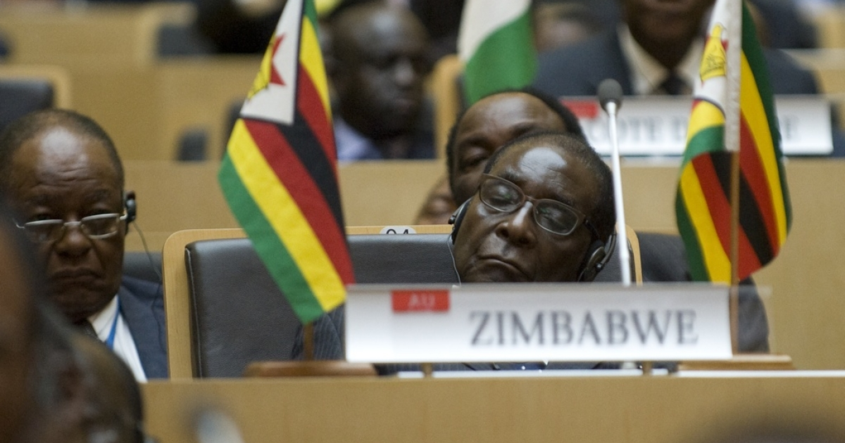 Zimbabwe's President Robert Mugabe attends the inauguration of the high-rise African Union headquarters in Addis Ababa, built and donated by China at a cost of $200 million, on January 28, 2012. The building, which towers above the Ethiopian capital, was opened ahead of the start of the pan-African body's 18th ordinary summit, a bold symbol of China's rapidly changing role in Africa.</p>