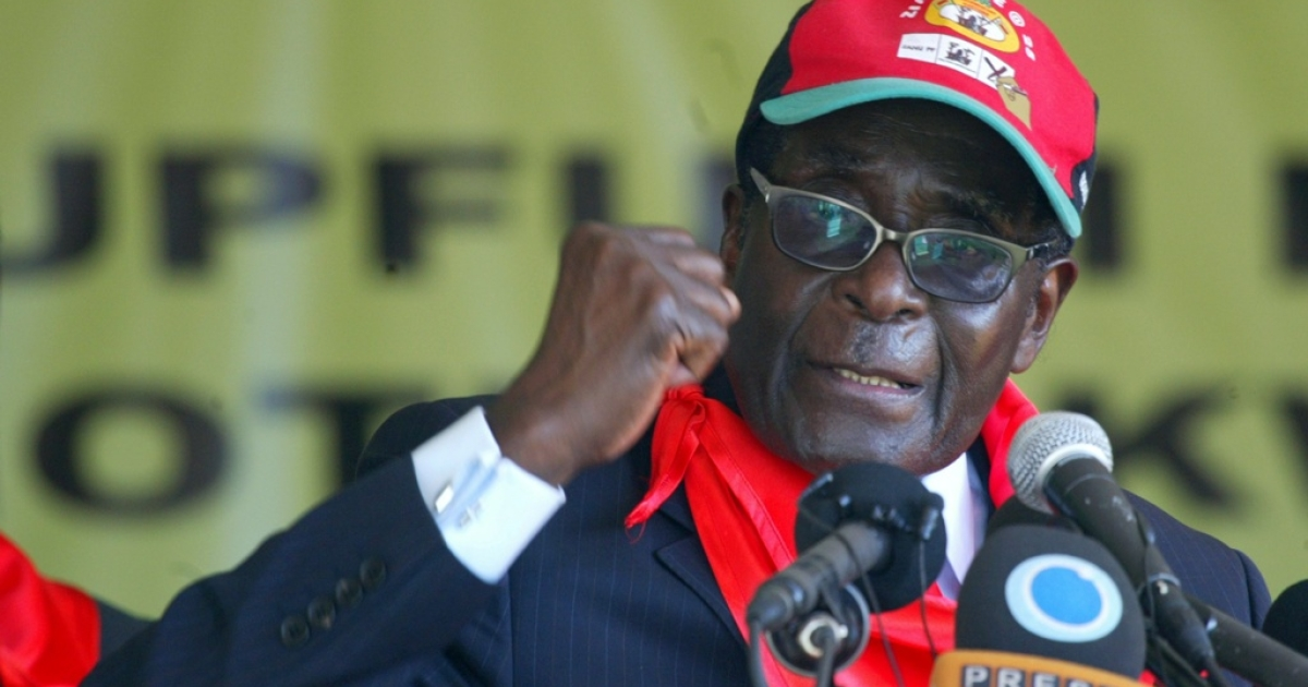 Zimbabwe's President Robert Mugabe speaks during a rally marking his 88th birthday in Mutare on February 25, 2012 with a trademark attack on gays and foreigners at a rally of his supporters.</p>