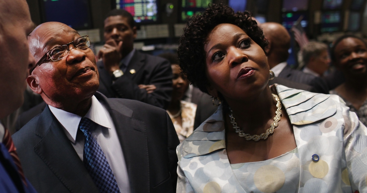 Jacob Zuma, South Africa's president, visits the New York Stock Exchange with Bongi Ngema, on September 19, 2011 in New York City. Zuma announced that he will marry Ngema in April.</p>