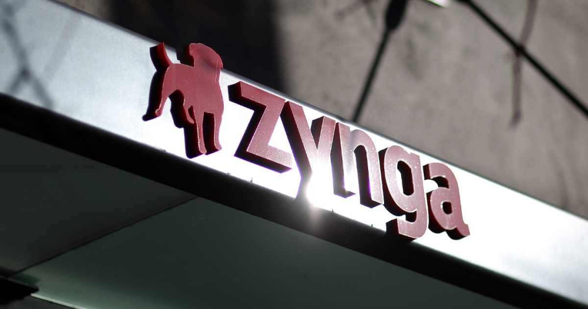The Zynga logo is displayed on the front of the company's former headquarters on December 9, 2011 in San Francisco, California.</p>