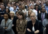 Wachovia employees listen to Wells Fargo CEO John Stumpf