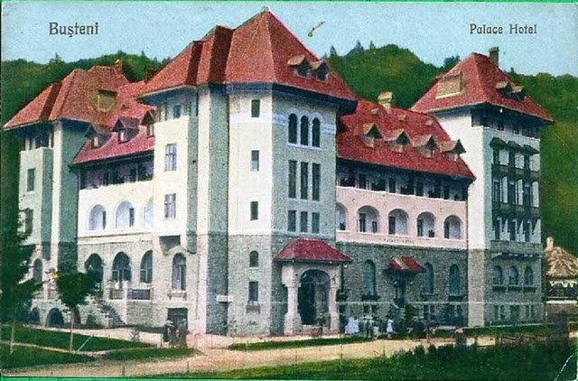An old postcard of a hotel casino in busteni in the carpathians during world war ii it was transformed into orphanage 9 mai