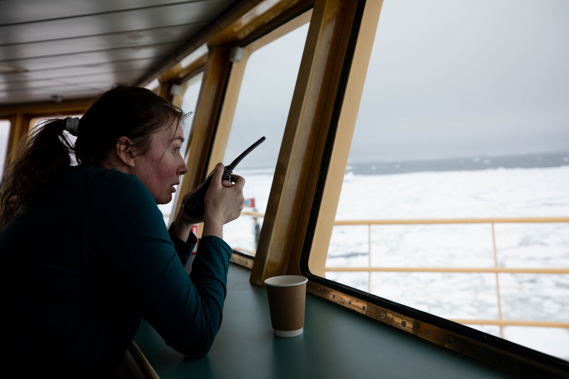 Researcher Anna Wåhlin is shown with a microphone looking out on the ocean.