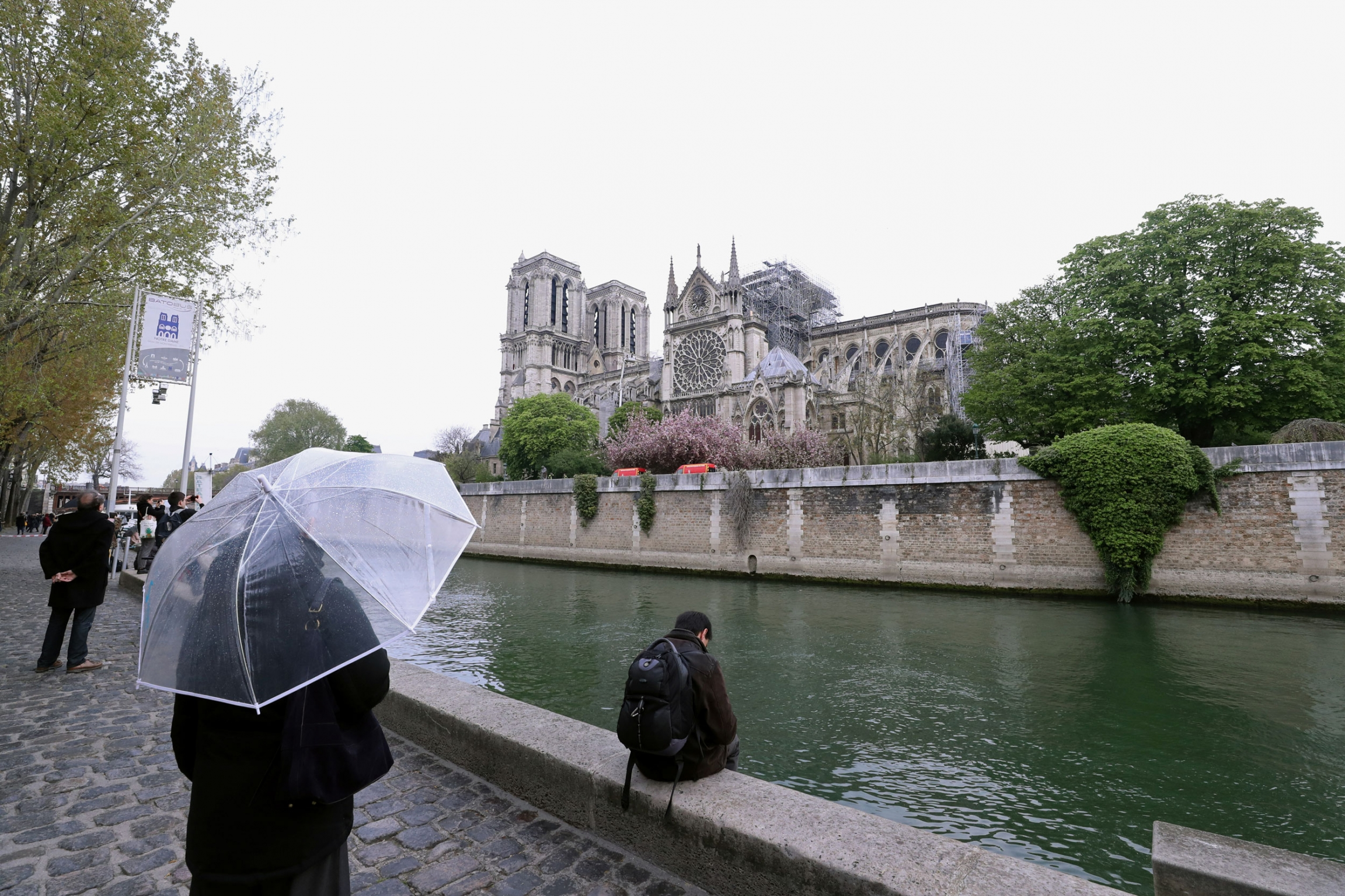 A person holding a clear umbrella stands across the river looking at a burned Notre-Dame Cathedral.