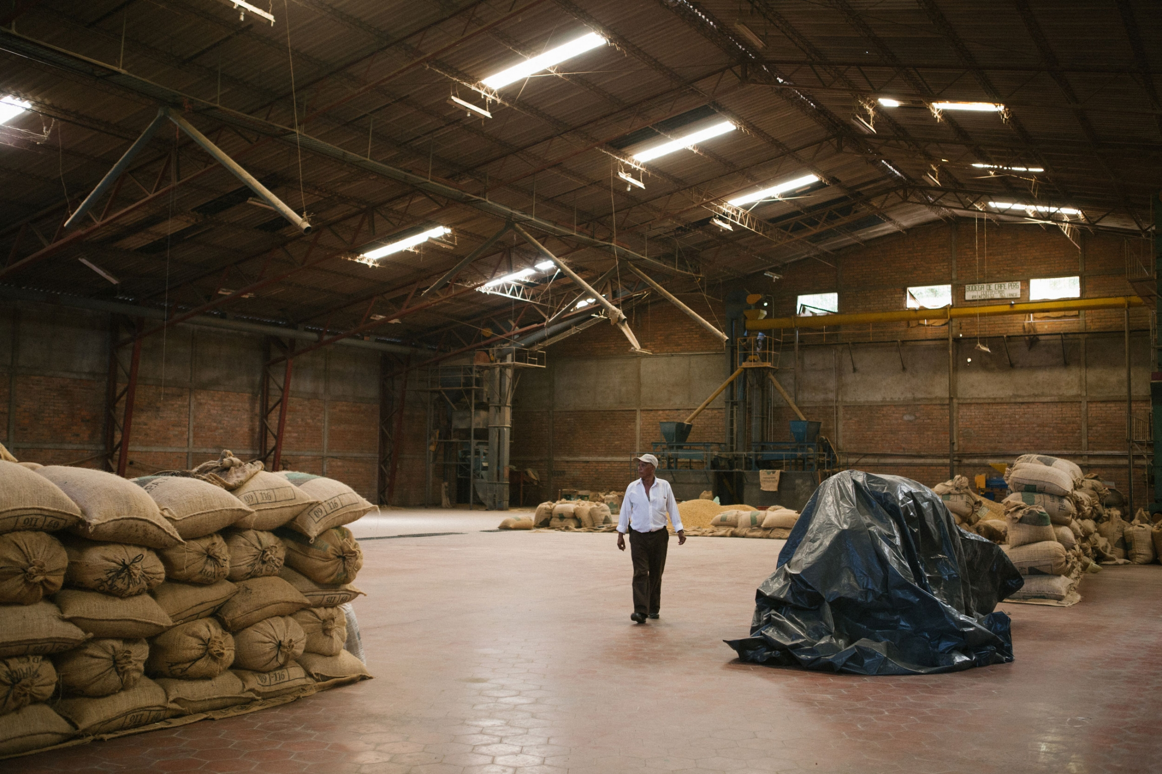 A man wearing a white shirt is shown walking through a large warehouse with large bags of coffee stacked.