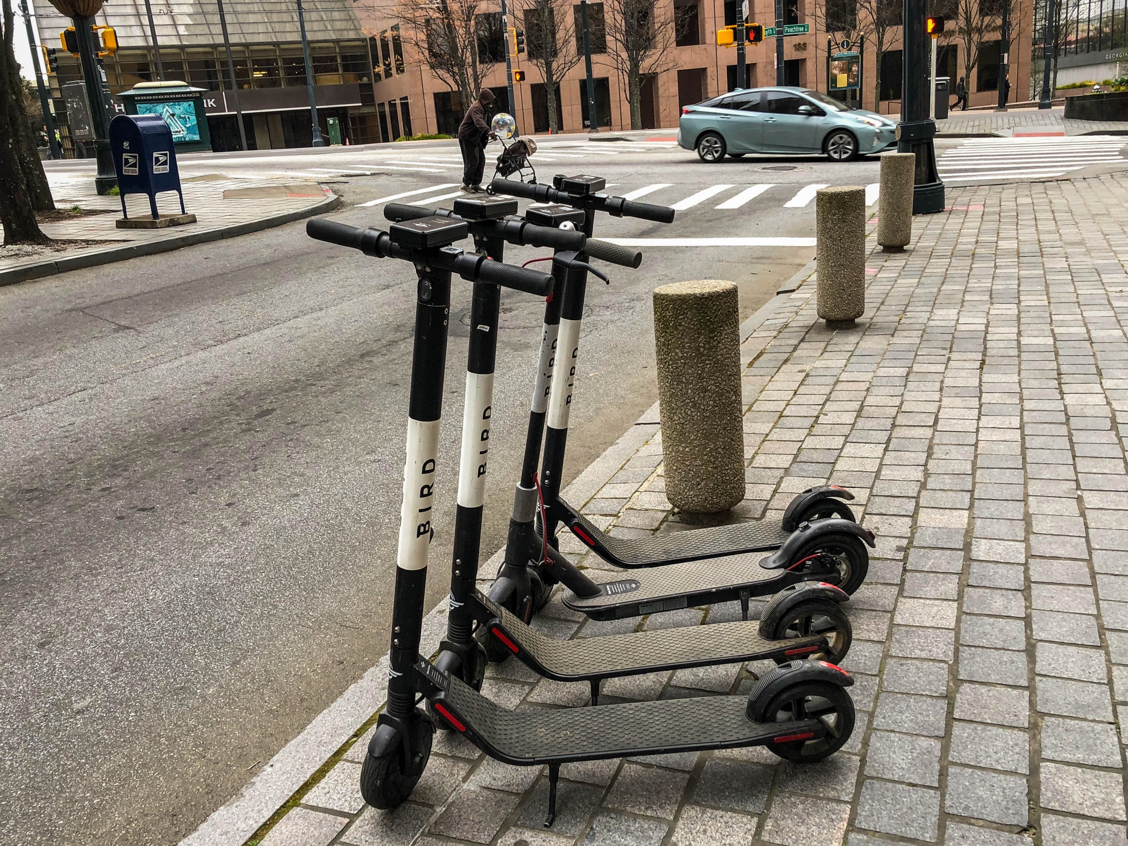 Electric scooters on the streets of Atlanta