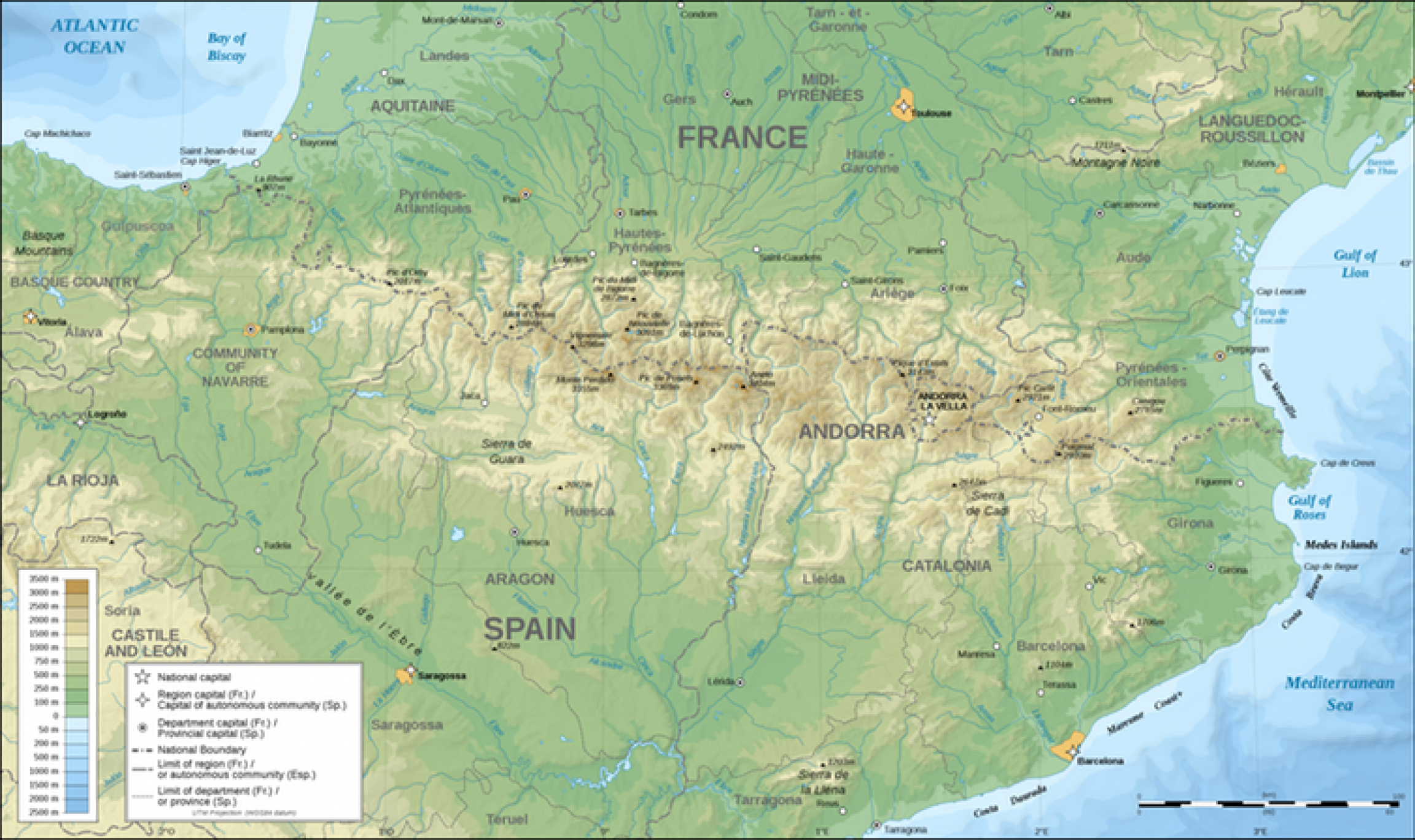 map of pyrenees