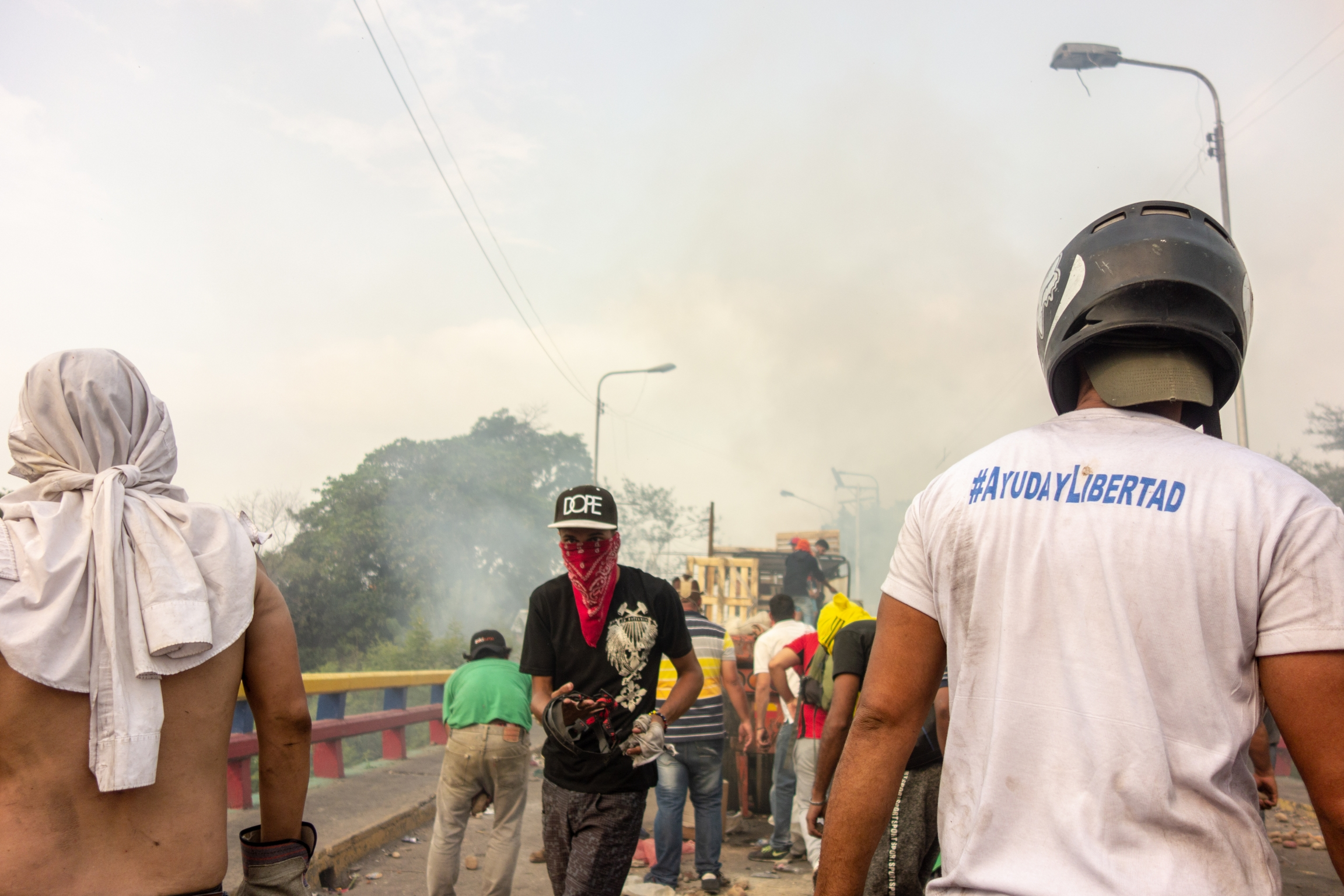 protest at venezuelan border