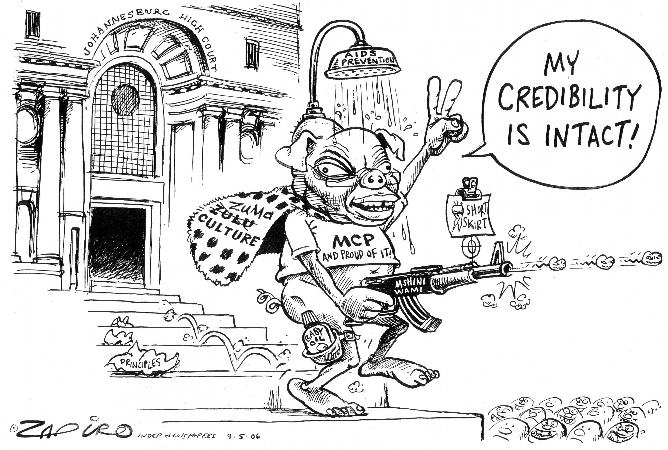 Cartoon of Jacob Zuma leaving court in 2006 after having been acquitted of rape with a shower on his head to illlustrate his claim that he took a shower after sex to avoid getting HIV from someone who was infected.